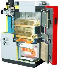 Rez kotlom S4 1. Lambdasonda pre optimálne spaľovanie 2. Otáčkami riadený spalinový ventilátor pre plynulú reguláciu výkonu kotla 3. WOS systém pre čistenie trubiek výmenníka počas prevádzky 4. Vysoko účinná tepelná izolácia Klapky primárneho a sekundárneho vzduchu 5. Rozmerný kontrolný otvor pre pohodlné čistenie 6. Regulácia Lambdatronic S 3200 7. Spätné odsávanie spalín pri prikladaní paliva zabraňuje zadymeniu priestoru kotolne 8. Tepelné obloženie palivovej komory pre efektívne spaľovanie bez dechtovania v plniacej komore 9. Veľká palivová komora pre 0,5 metrové kusy predlžuje intervaly plnenia 10.Automatika zapaľovania so špeciálnym vzduchový kanálom pre rýchle zapálenie (s možnosťou automatického zapaľovacieho agregátu) 11.Patentovaná vysokoteplotná turbulentná spaľovacia komora zabezpečuje vysokú účinnosť splyňovania a nízke emisie