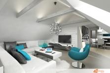 Návrh rekonstrukce obývacího pokoje v podkroví