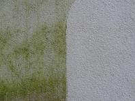 Rozdíl mezi napadenou, špinavou fasádu a po vyčištění