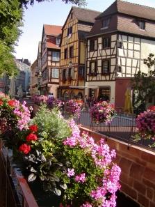 Hrázděné domy v objetí květin.