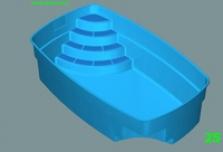 Zaoblený bazén s rohovými schody