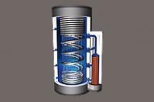 Vrstvící zásobník Pro-Clean® se sférickým výměníkem pro přípravu teplé vody a spirálovými trubicemi