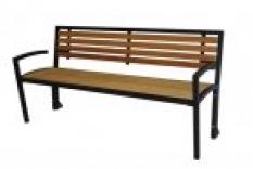 Mřížková lavice s opěrkou a dřevěnými lišty