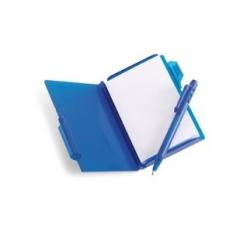 Poznámkový blok+pero, v plastovom púzdre, modré