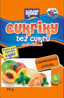 Cukríky bez cukru s mandarinkovou príchuťou 50g