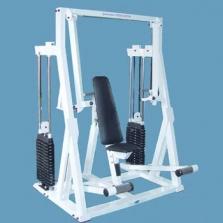 Stroj – prsa tlak vsedě s nerovnoběžnou dráhou pohybu (horní vedení)