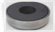 Magnetický prvok plochý so stredovou dierou v púzdre z nehrdzavejúcej ocele, Fe