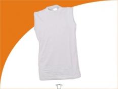Tričko pánske bez rukávov 150-160g, biele