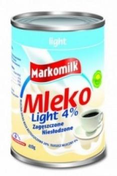 Kondenzované neslazené mléko Light, 4% tuku, 410g