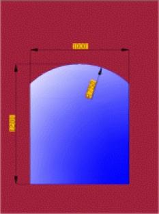Sklo pod pod krbová kamna segmentový portál velký 1200x1000mm