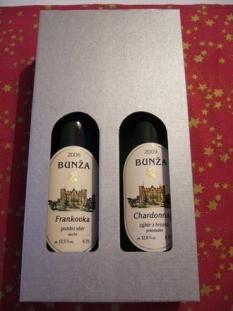 Dárková krabička na 2ks vína ve stříbrném kartonku