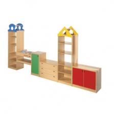 Nábytok pre MŠ - nábytková zostava MIKY 4, farebné dvierka