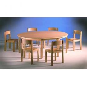 Model BJ - Stůl kruhový, buková podnoš