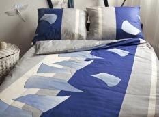 Súprava obliečok 1+1 bavlnený satén Zrkadlá modré