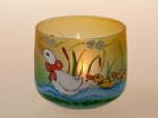 stínidlo malované pro svíčku, dóza - husička s housátky