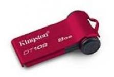 Kingston DataTraveler 108 8GB USB 2.0 flashdisk, hliníkový kryt, uDrive SW,červ.
