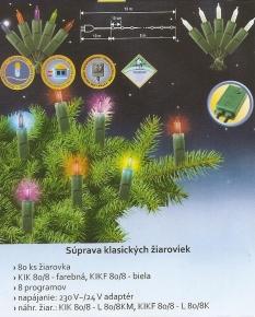Vianočný svietiaci reťazec, farebný, 80 ks