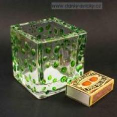 Skleněná miska se zelenými květinami - na svíčku či jako váza 7x7x7