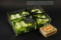 Čajovky s motýlky, zelená barva - svíčky