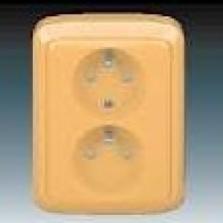 béžová dvojzásuvka komplet s rámikom, 230V, 16A, IP20, 5512A-2349 D