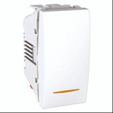 vypínač č.6 oranžovo podsvietený, polárny biely polmodul 250V, 10A, IP20, MGU3.103.18S