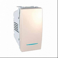vypínač č.1 modro podsvietený, slonovinový polmodul 250V, 10A, IP20, MGU3.101.25N