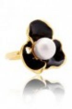 Malý květinový prsten s perlou - černý