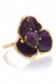 Malý květinový prsten s krystalem Swarovski - purpurový