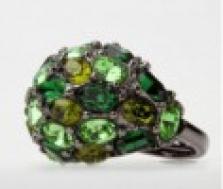 Prsten se zelenými krystaly Swarovski