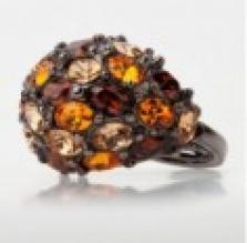 Prsten s topazovými krystaly