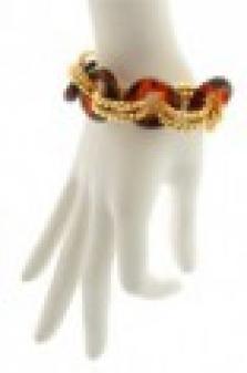 Zlatý náramek s jantarovými kroužky