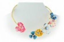 Zlatý náhrdelník s květinami, krystaly Swarovski a perlami ve stylu Dior