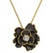 Zlatý náhrdelník s černou růží s krystalem Swarovski uprostřed