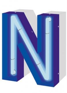 Světelný nápis s neonovou trubicí zanořenou v písmenu