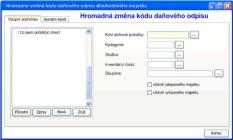 Aplikace Hromadná změna kódu daňového odpisu
