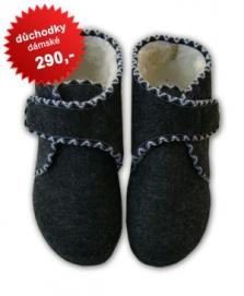 Papuče z ovčího rouna - důchodky