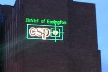 Laserová reklama na budovy