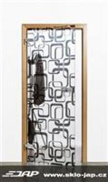 Interiérové skleněné dveře s grafikou