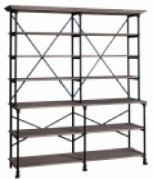 Large iron rack with oak shelves upper part