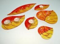 Svícínek LÍSTEK oranžovo-amber