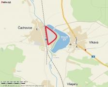 Pozemek v obci Čachovice s železniční vlečkou