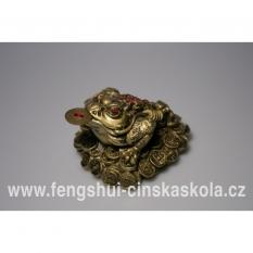 Velká třínohá žába sedící na mincích (žába hojnosti, bohatství)