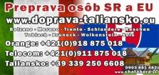 Preprava osôb do a zo severného Talianska späť na Slovensko